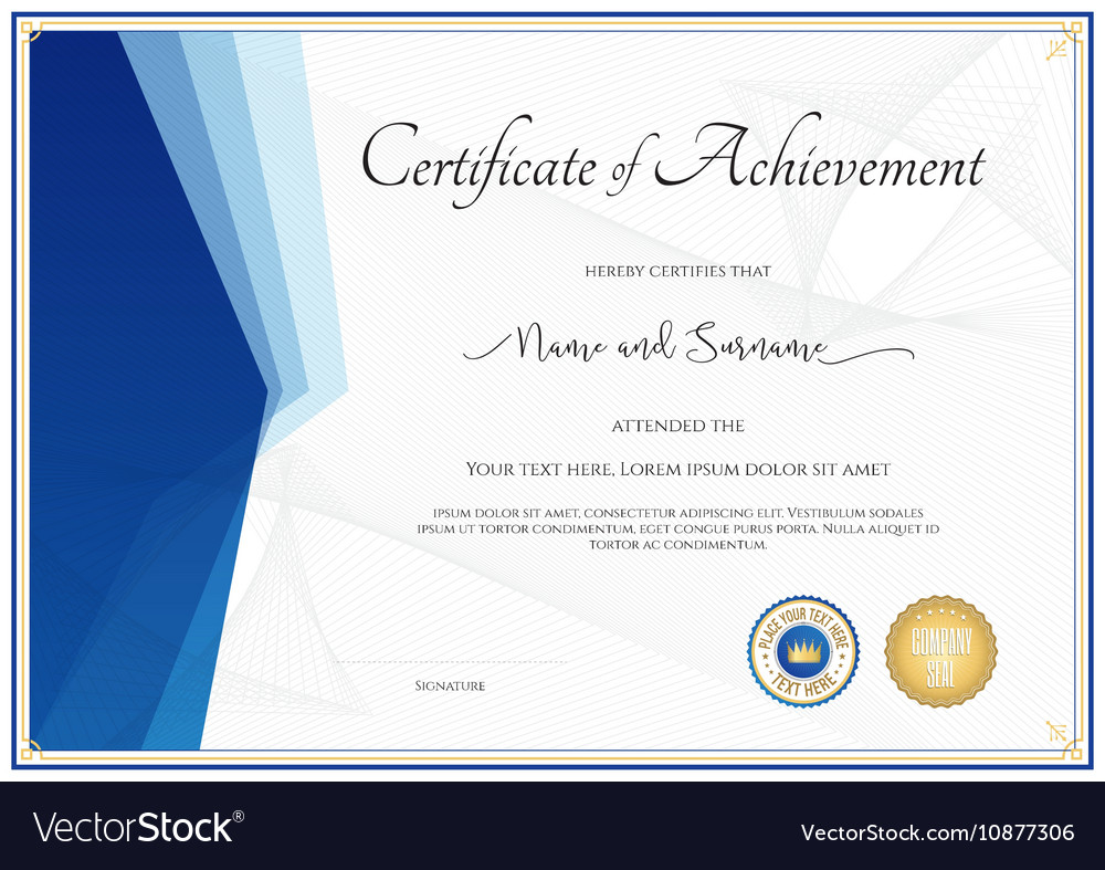 Modern Certificate Template For Achievement Vector Image  Certificate Achievement Template