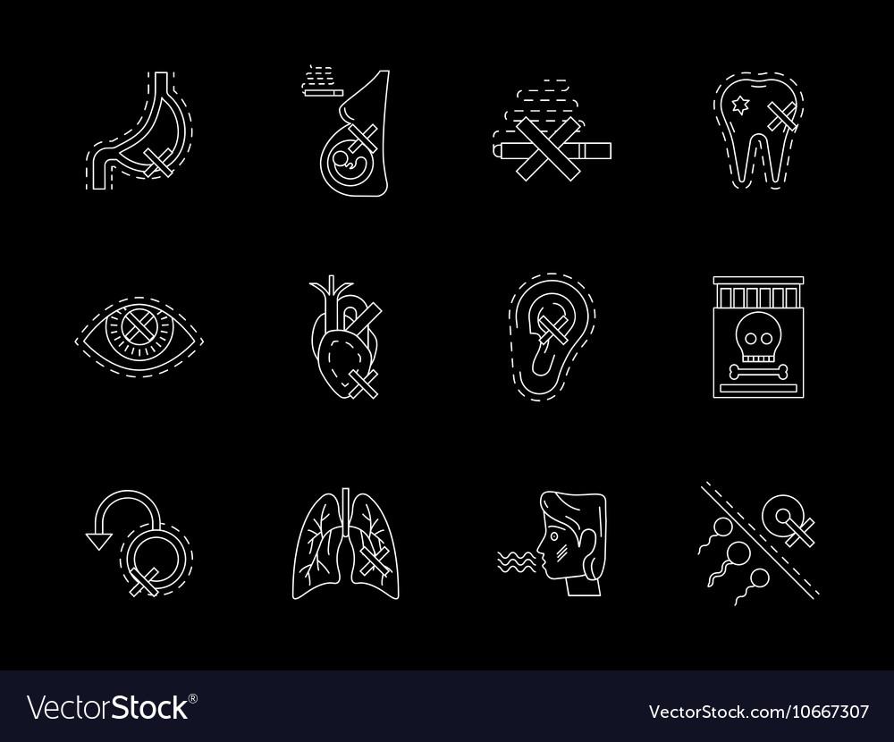 Hazards of smoking white line icons set vector image