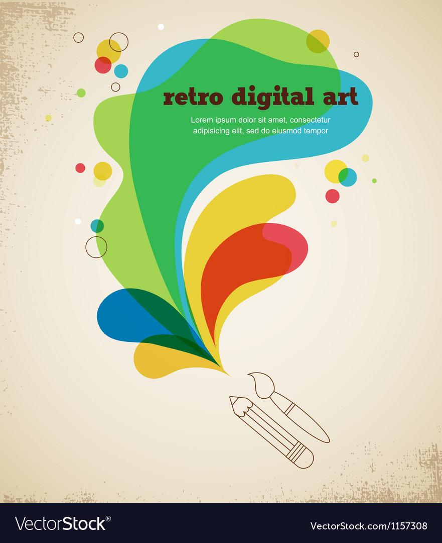 Digital art poster with splash color vector image