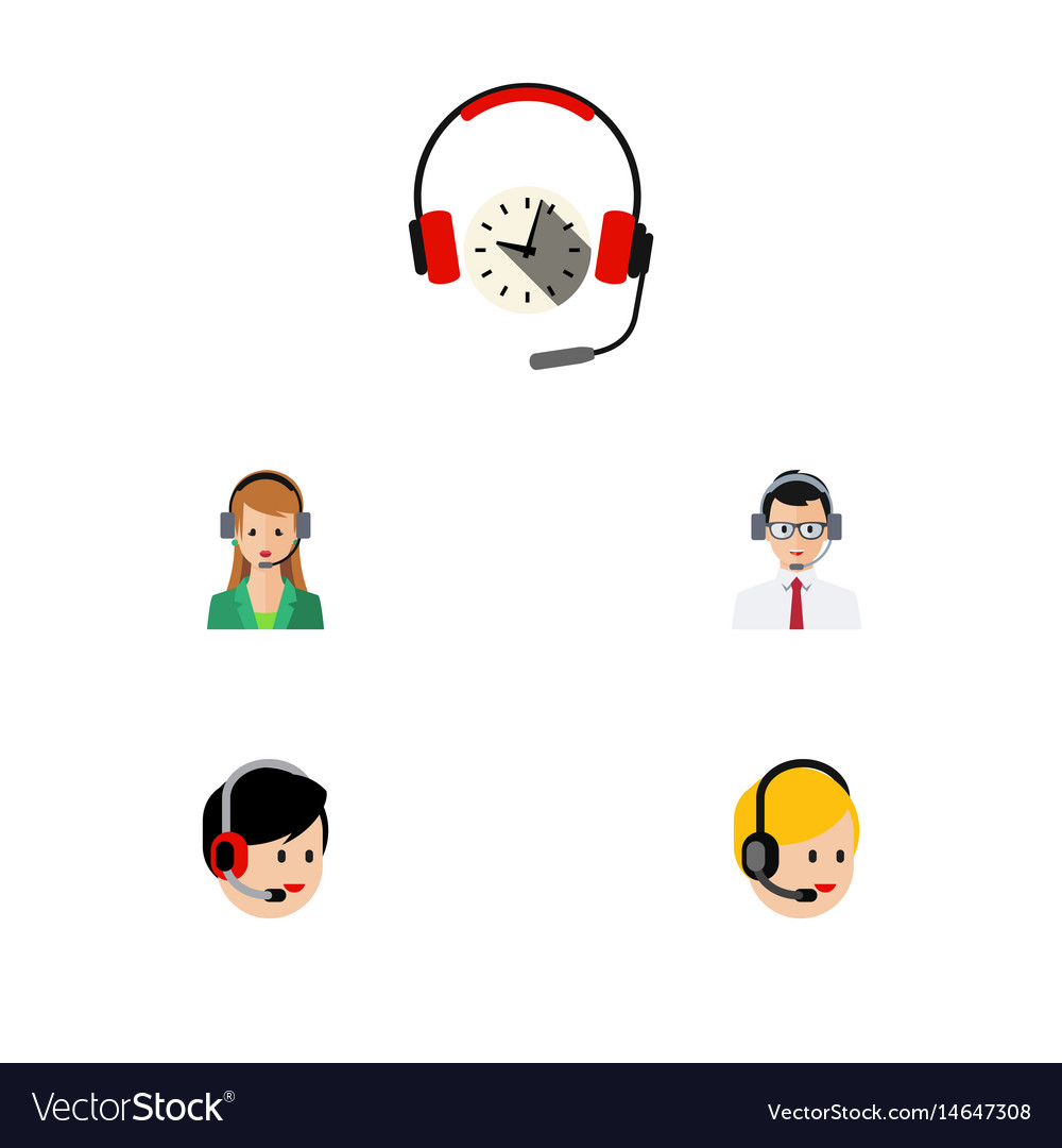 Flat telemarketing set of call center headphone vector image