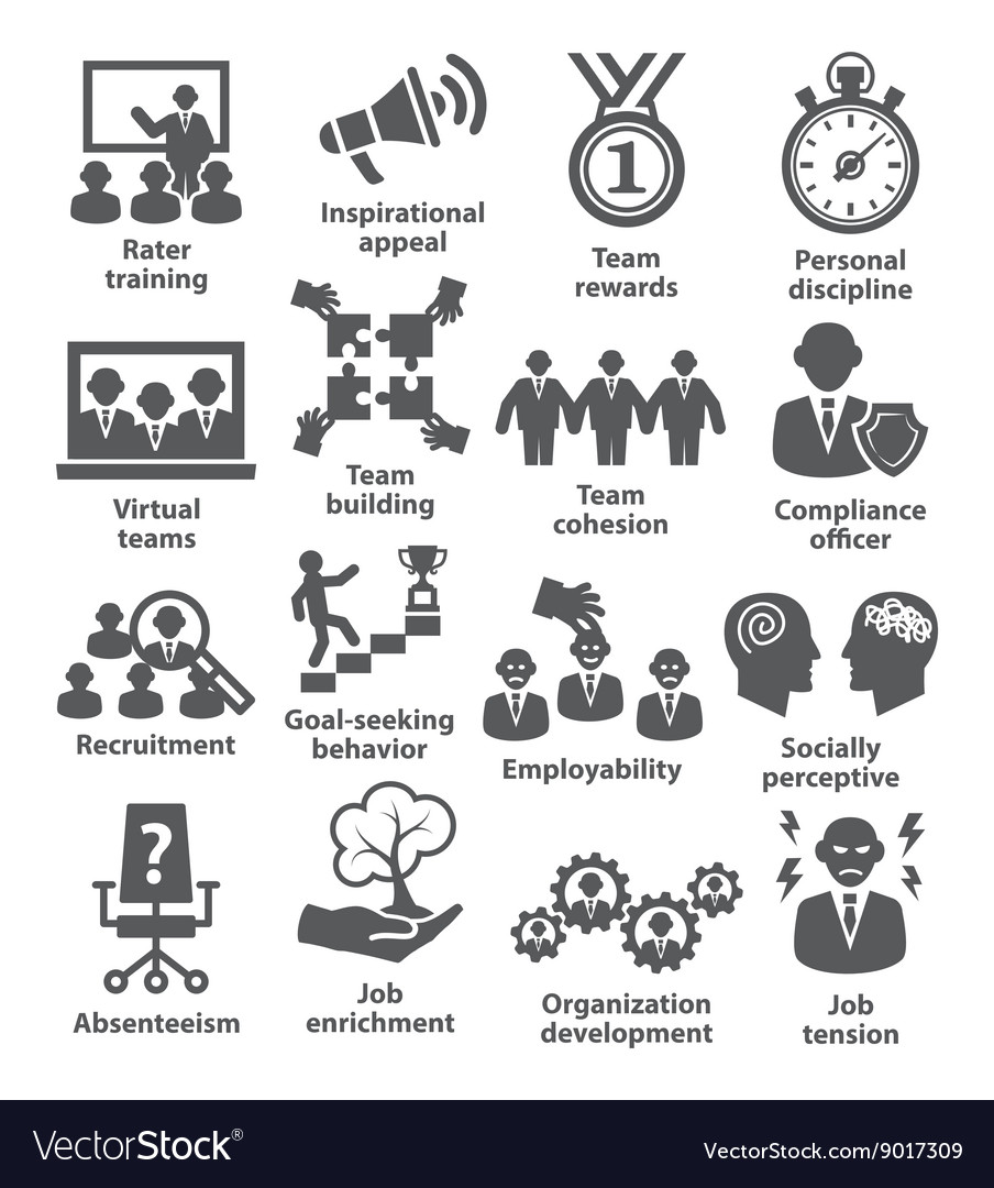 Business management icons Pack 21 vector image
