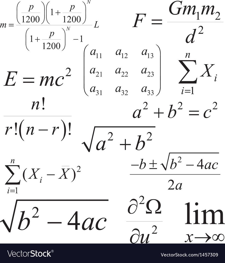 Mathematics and Physics formulas and expressions vector image