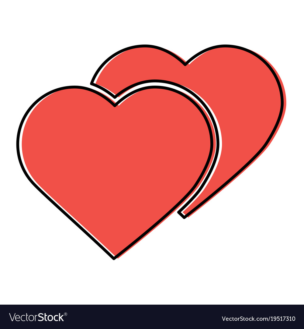 Two hearts cartoon icon image Royalty Free Vector Image