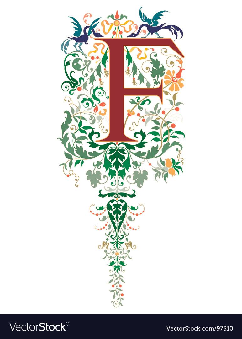 Vintage letter f vector image