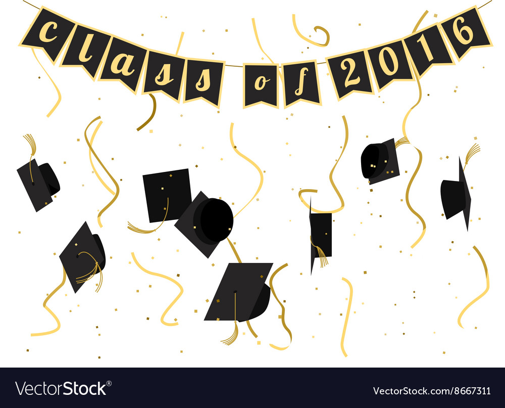 Graduation ceremony 2016 invitation design Vector Image