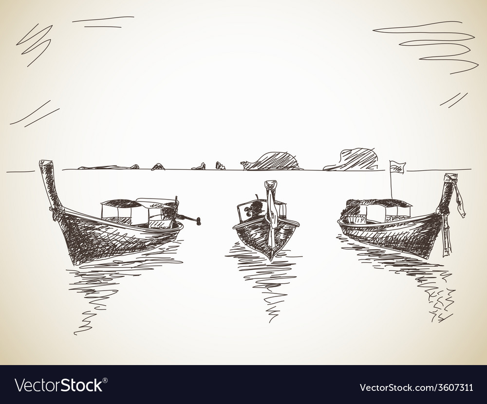 Long-tail boat vector image