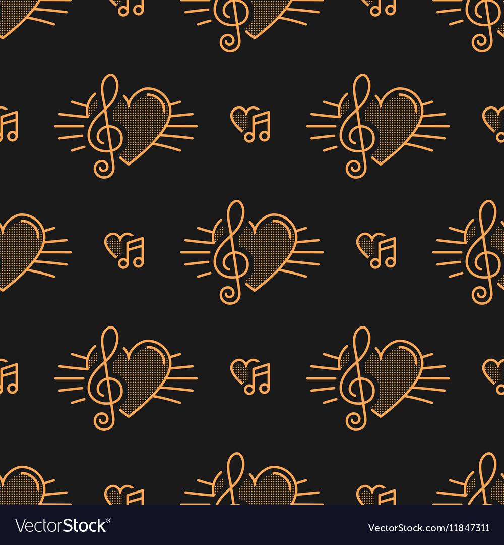 Music notes seamless pattern treble clef thin vector image
