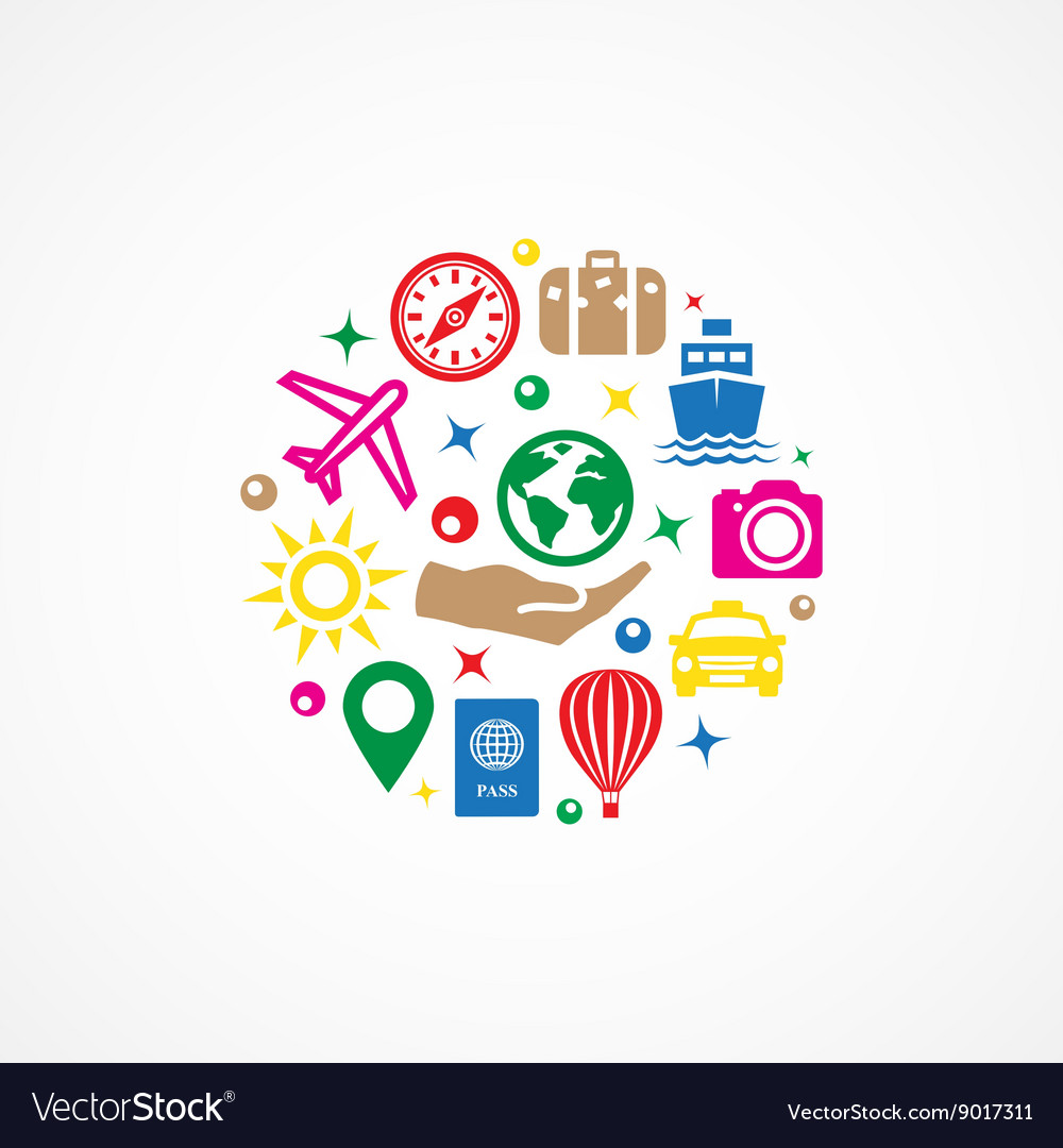 Travel with icons vector image