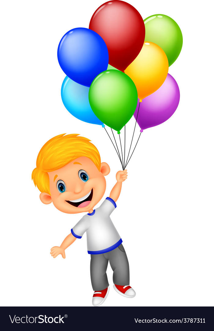 Young boy cartoon flying with balloon vector image