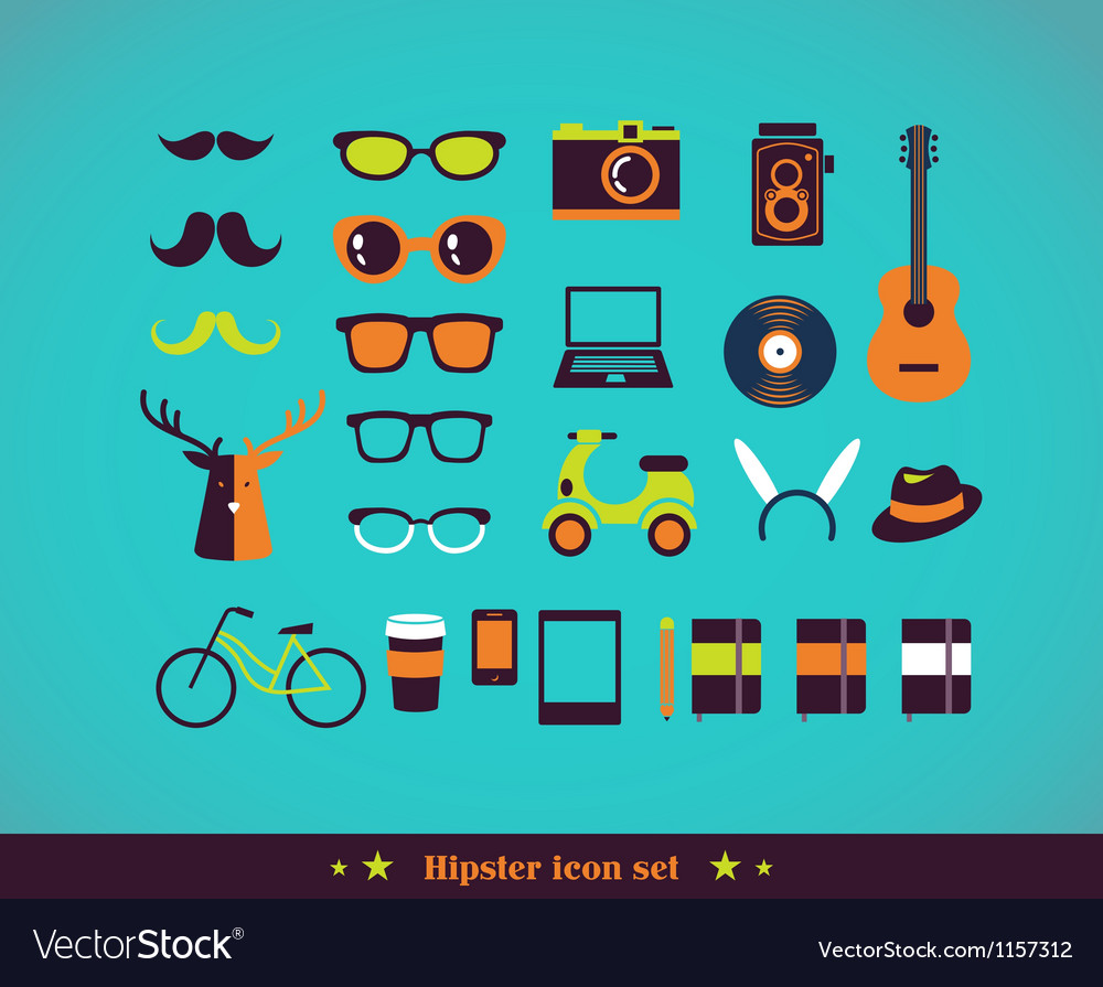 Hipster concept icon set vector image