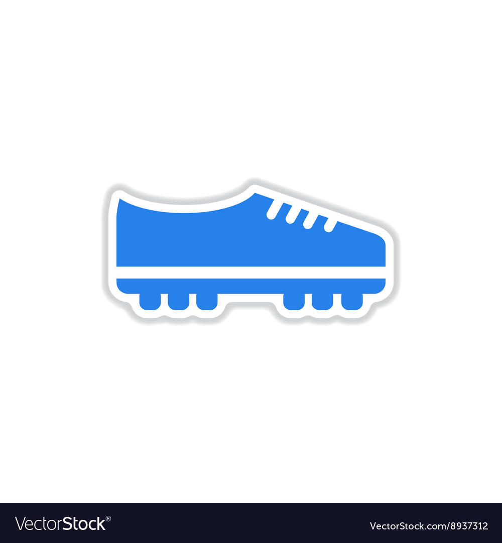 Paper sticker on white background soccer shoes