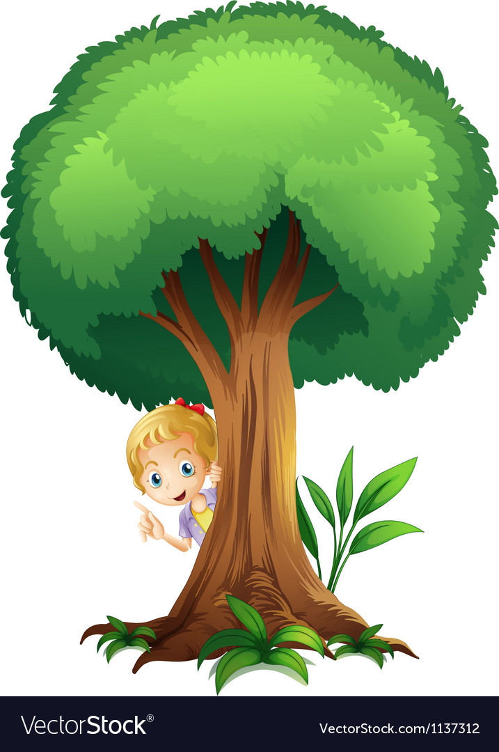 A girl and a tree vector image