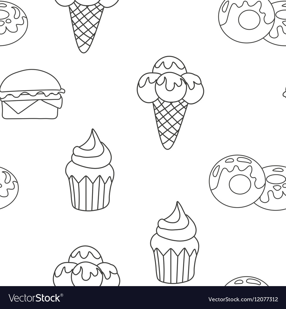 Pattern Ice Cream Cupcake donut Background of vector image