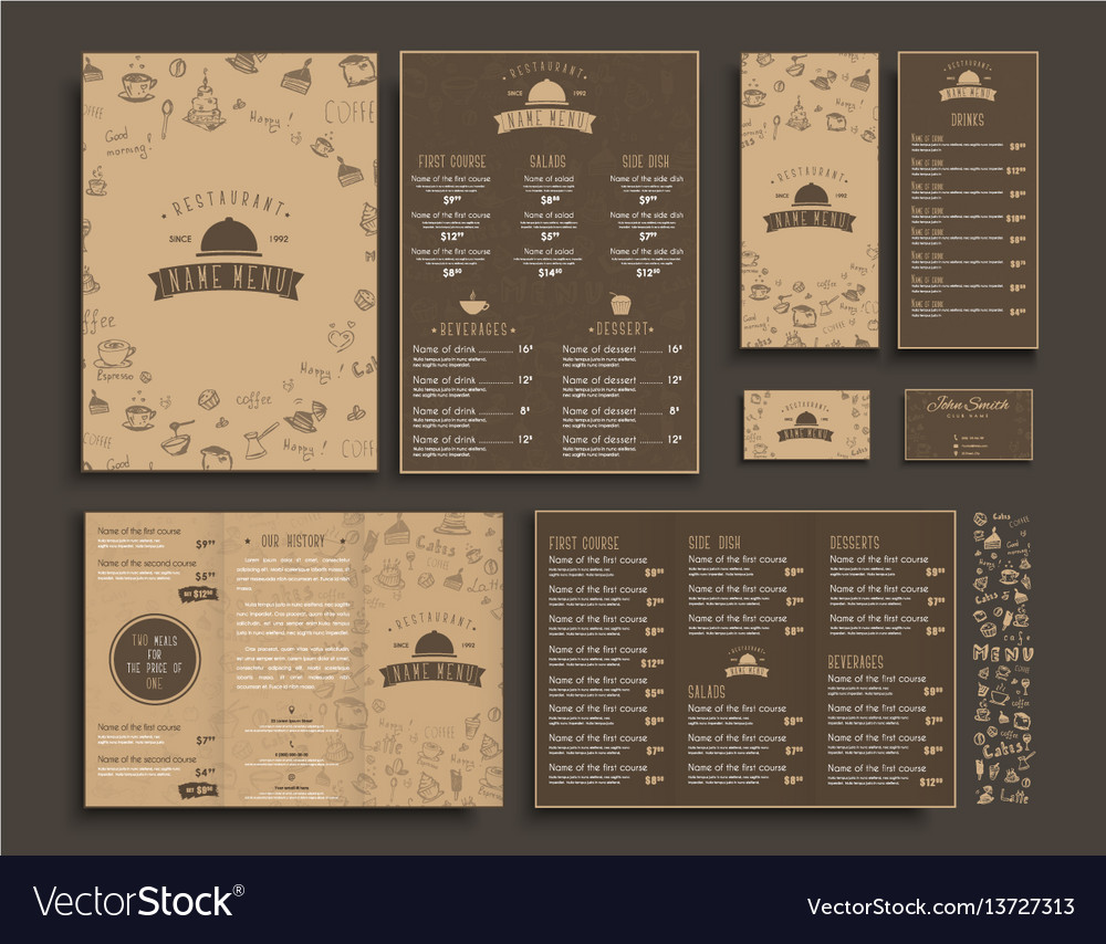 Set of a4 menu folding brochures and flyers vector image