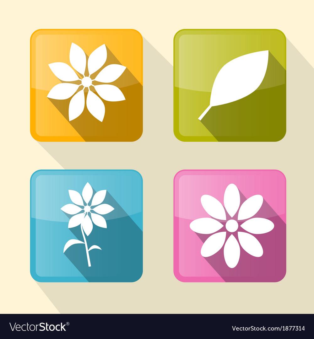 Flower Retro Square Icons vector image