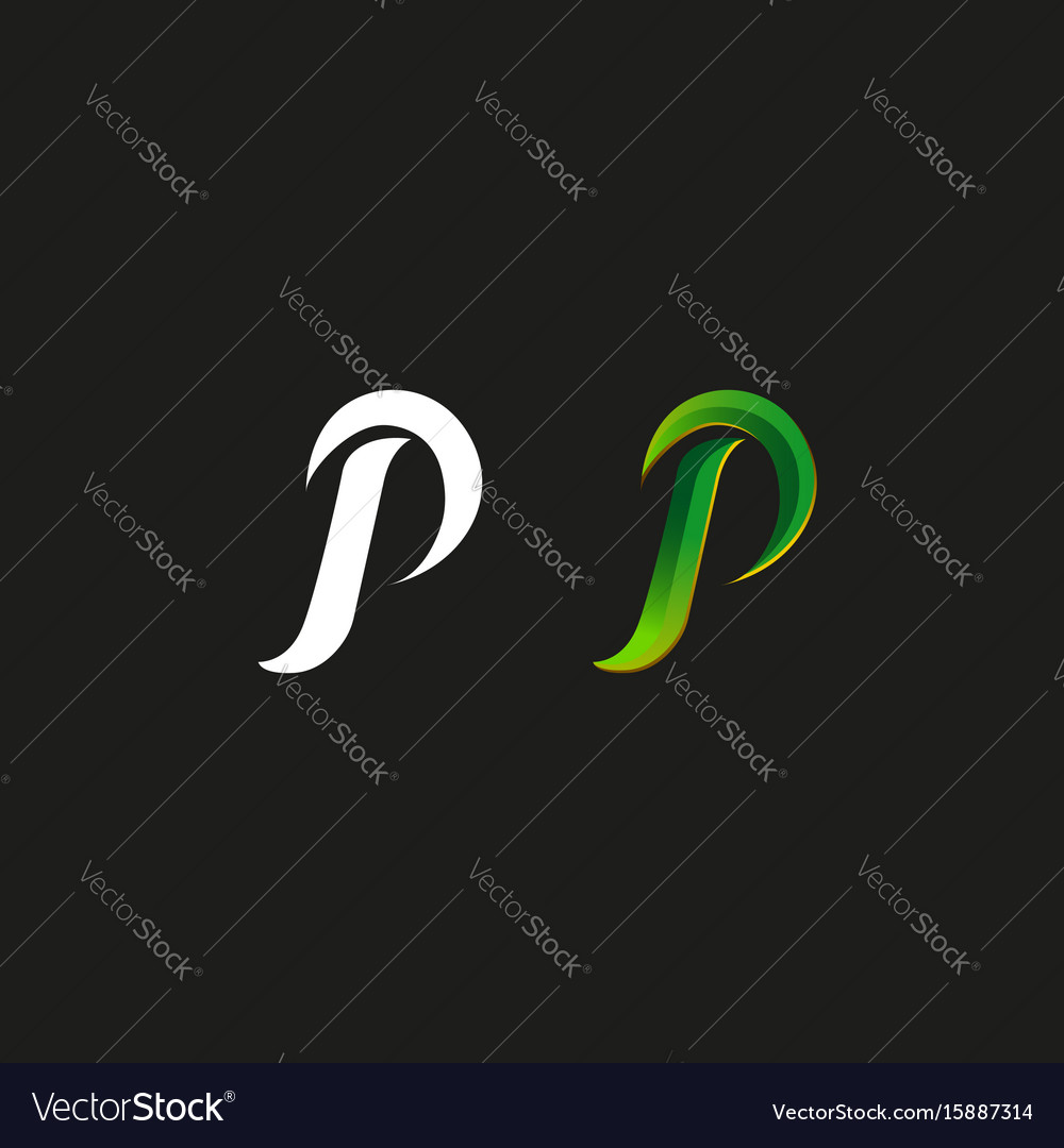 Capital letter p logo green gradient style vector image
