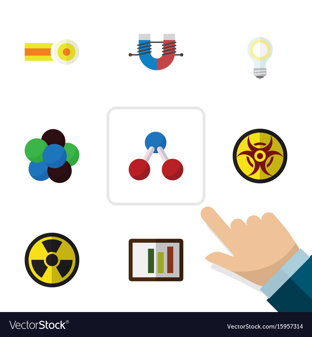 Flat icon knowledge set of irradiation danger vector image