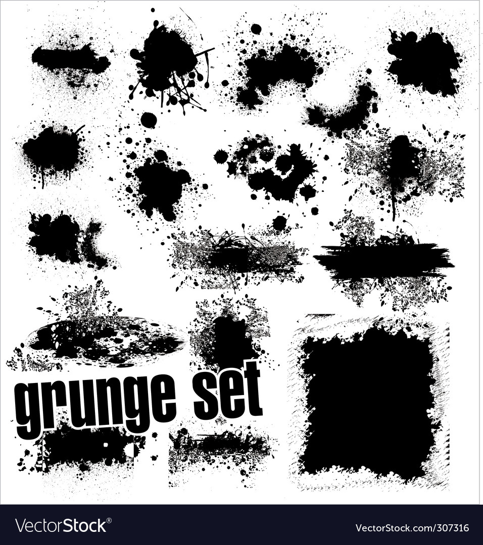 Grunge splashes set vector image