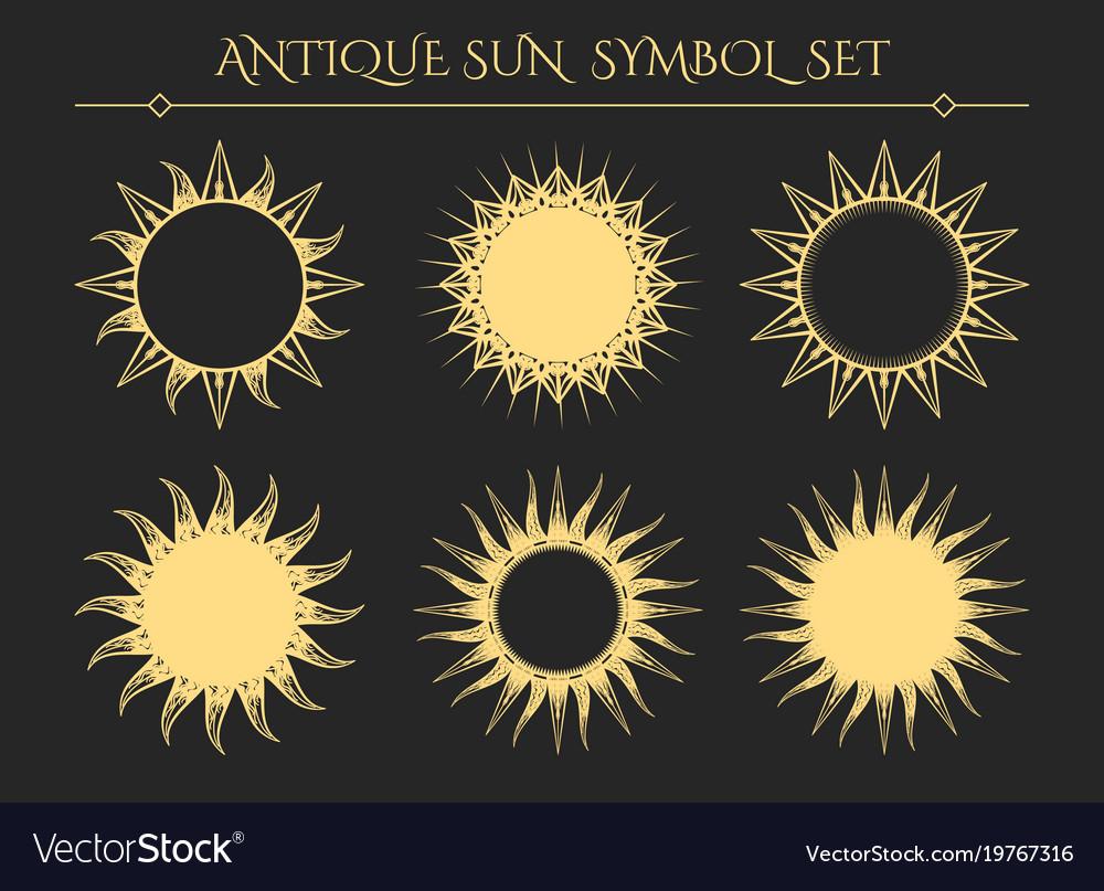 Vintage starburst mystical icons vector image