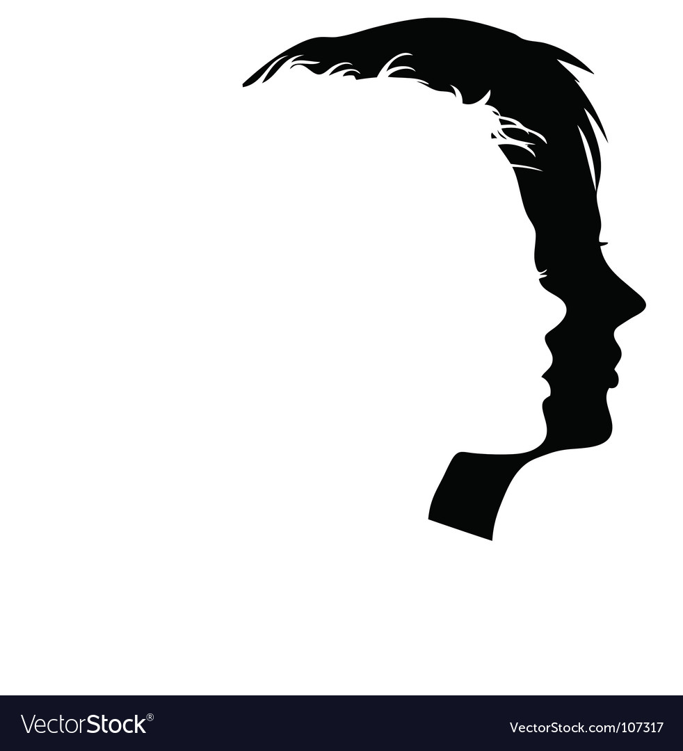 Faces profiles vector image