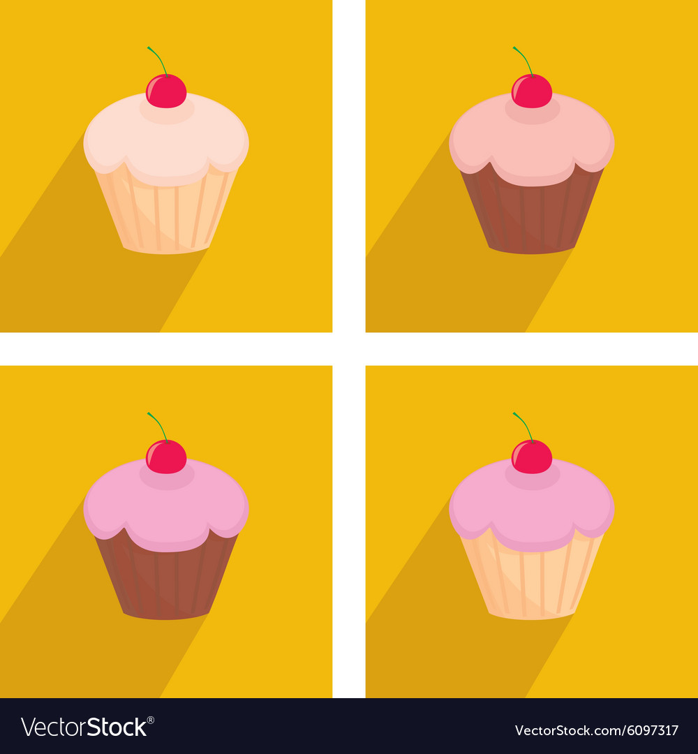 Sweet cherry cupcake icon set on yellow background vector image