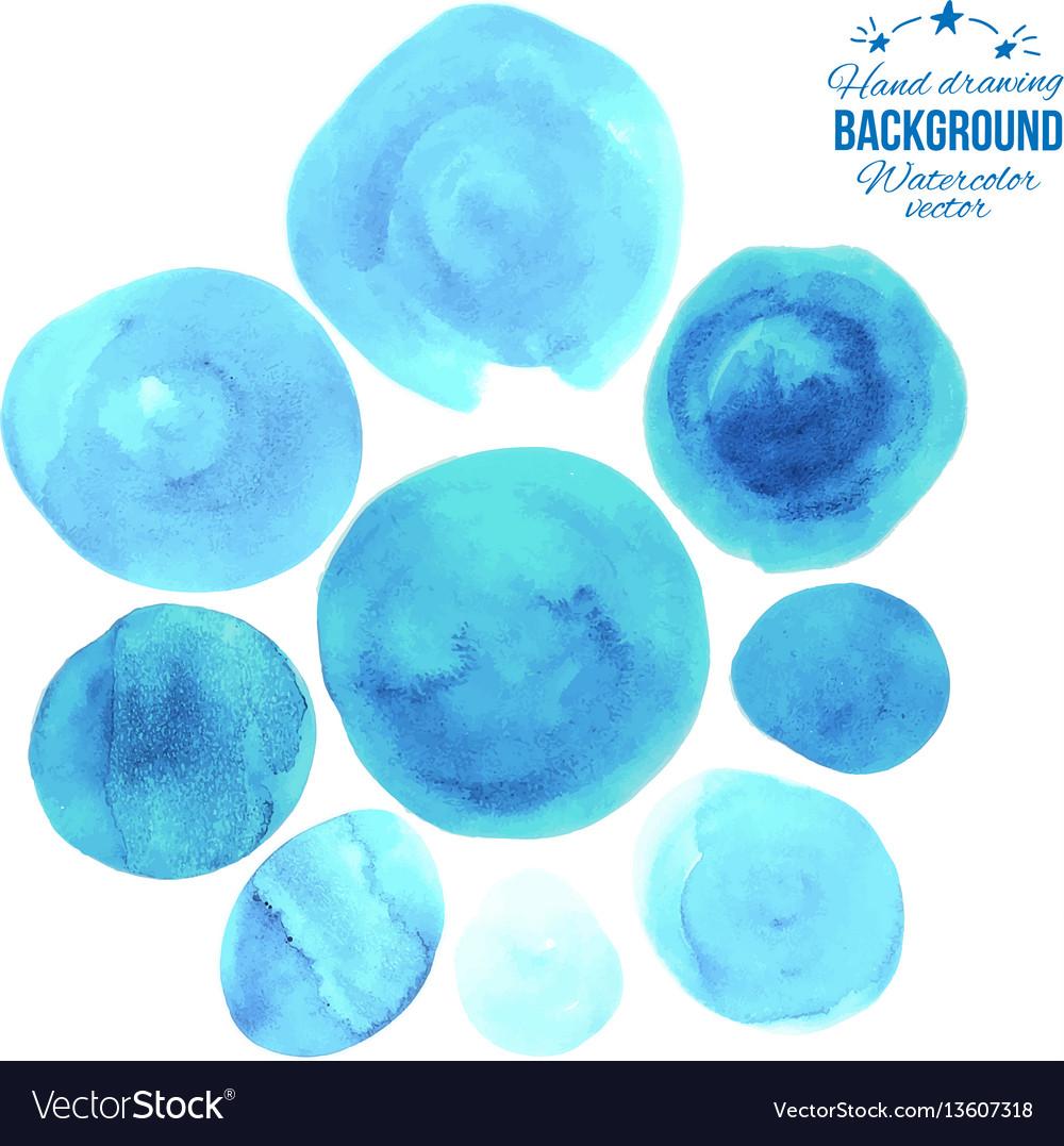 Nice blue circles floral set vector image