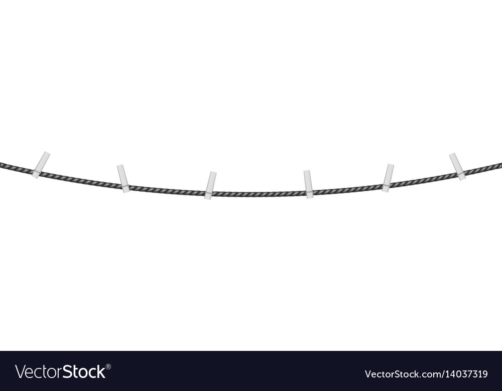 Clothespins on black rope vector image