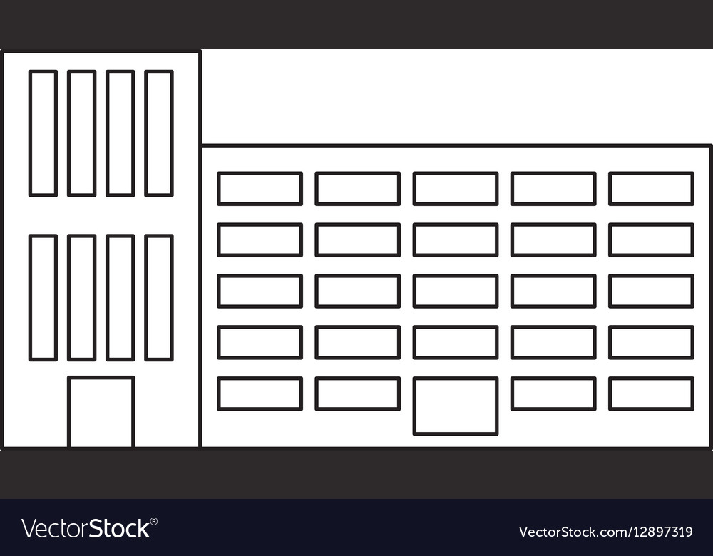 Figure city school building line sticker vector image