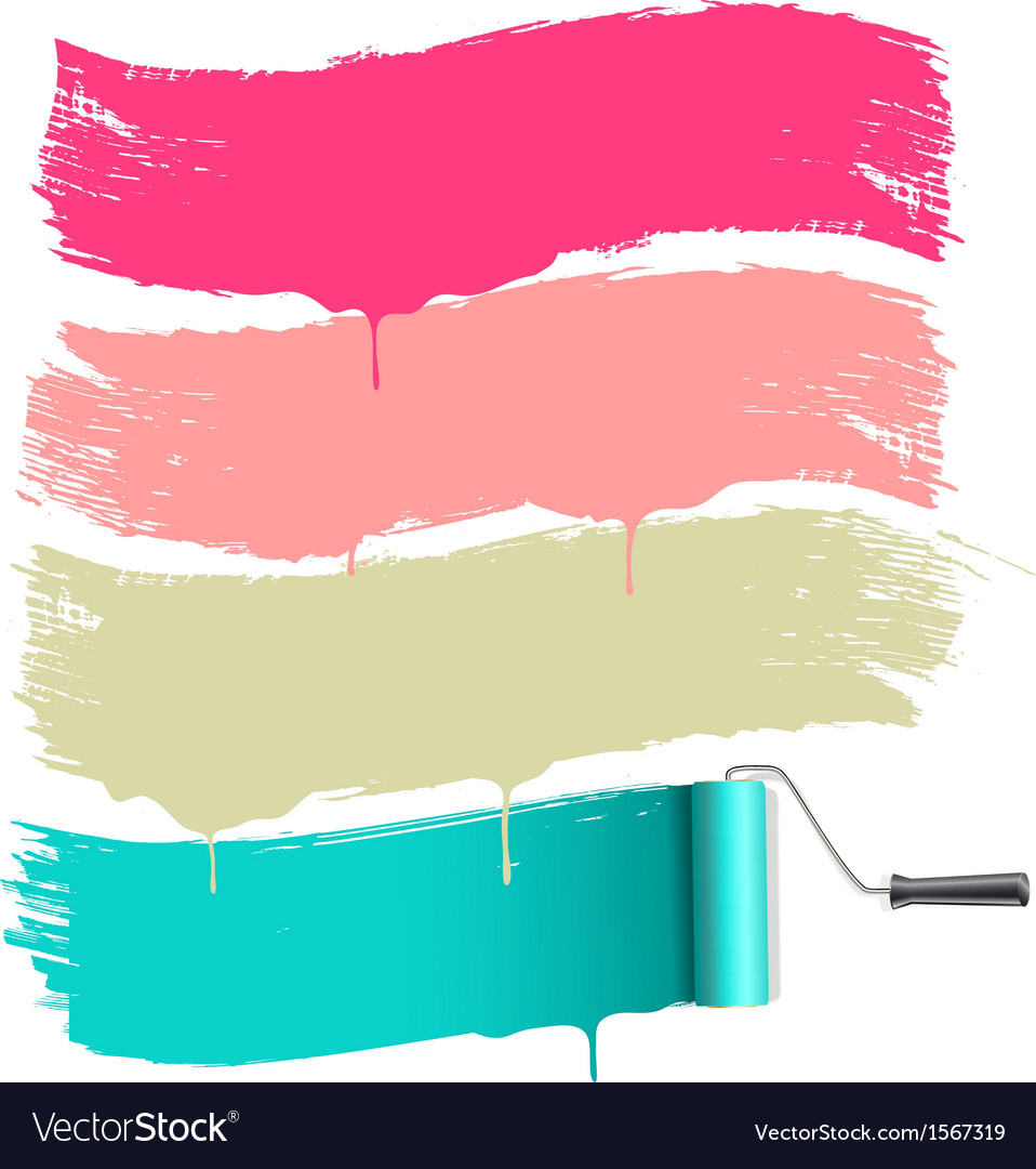 Roller brushes painting vector image