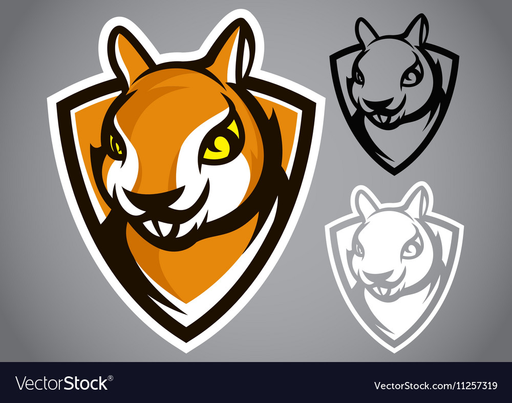 Squirrel shield brown logo emblem vector image