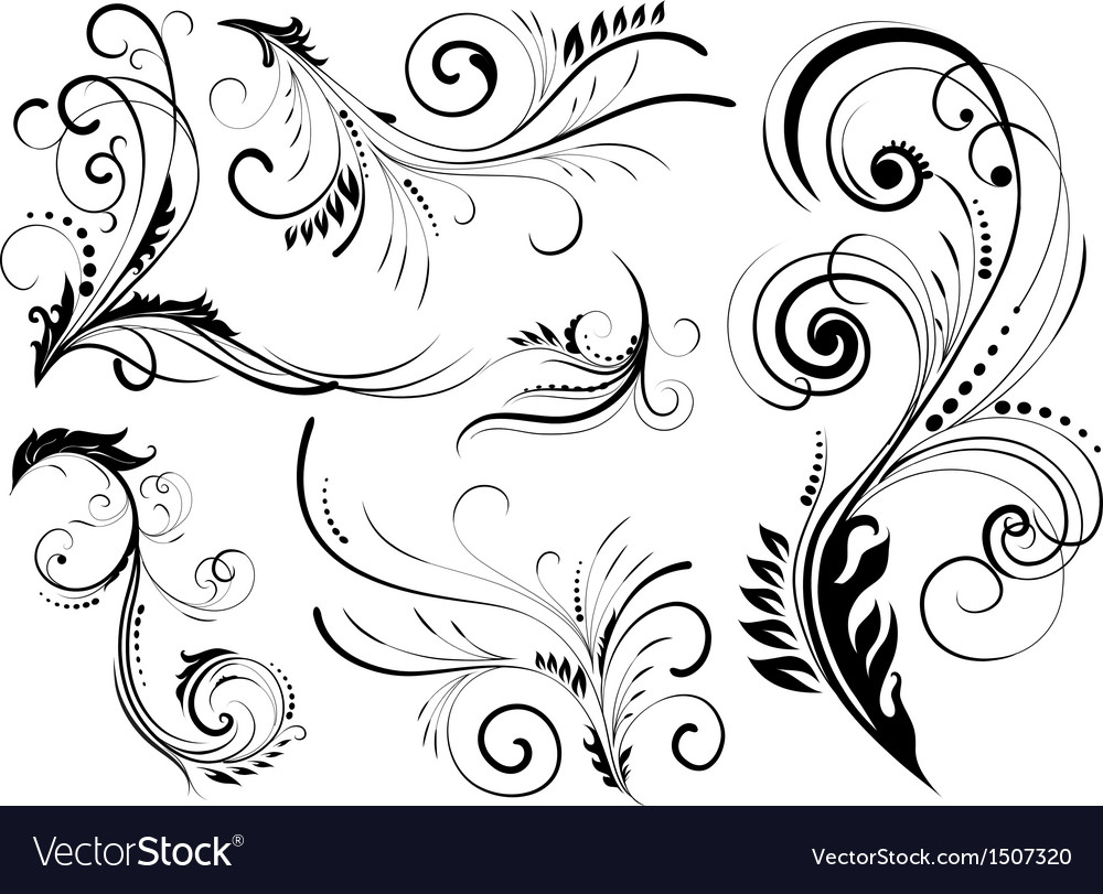 Floral pattern elements vector image