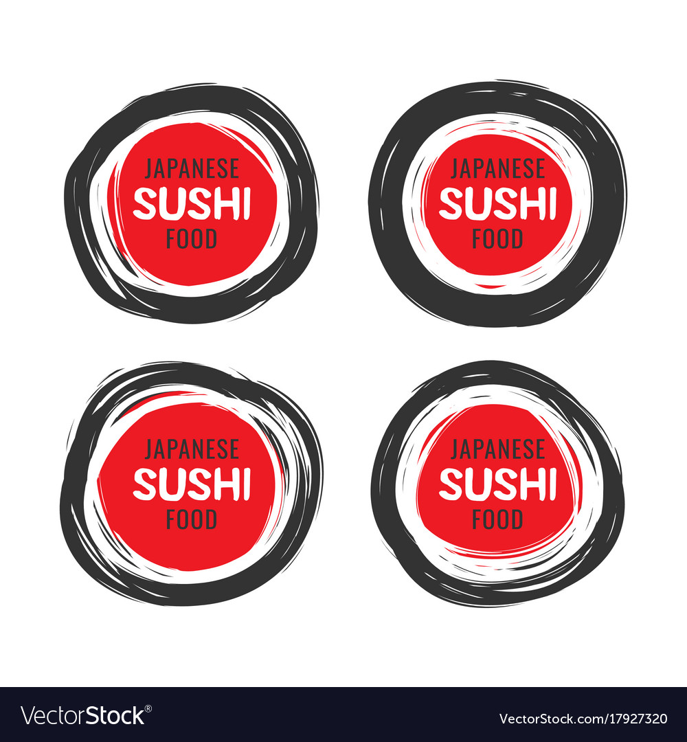 Set of 4 hand drawn scribble sushi logo vector image