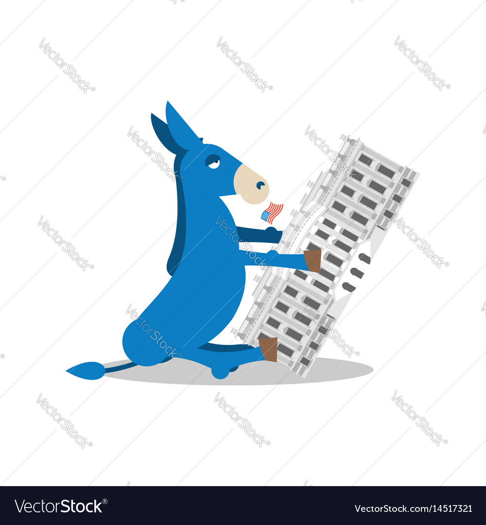 Democrat win white house flag blue donkey vector image