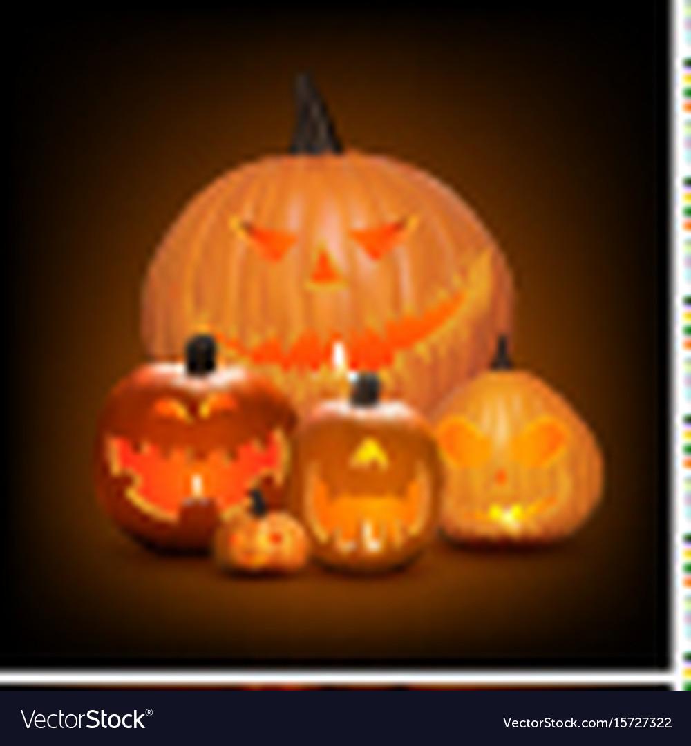 Halloween background pumpkins vector image