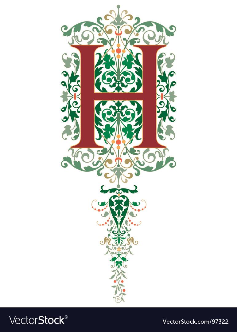Vintage letter h vector image