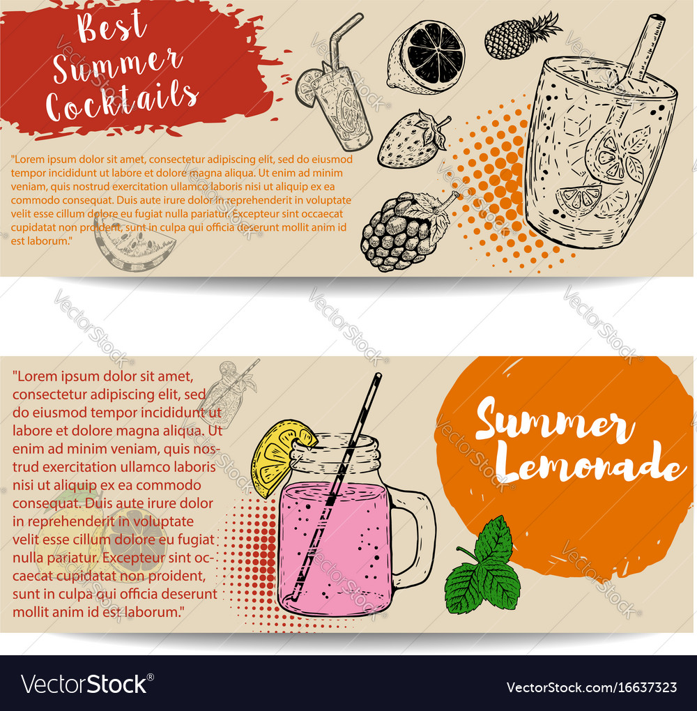Cocktails flyers templates on white background vector image
