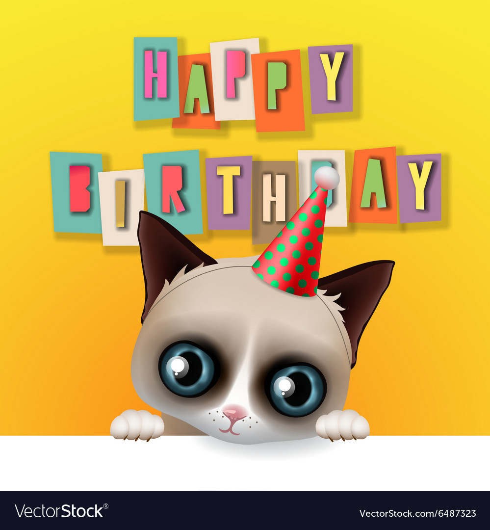 Cute happy birthday card with fun grumpy cat vector image bookmarktalkfo Image collections