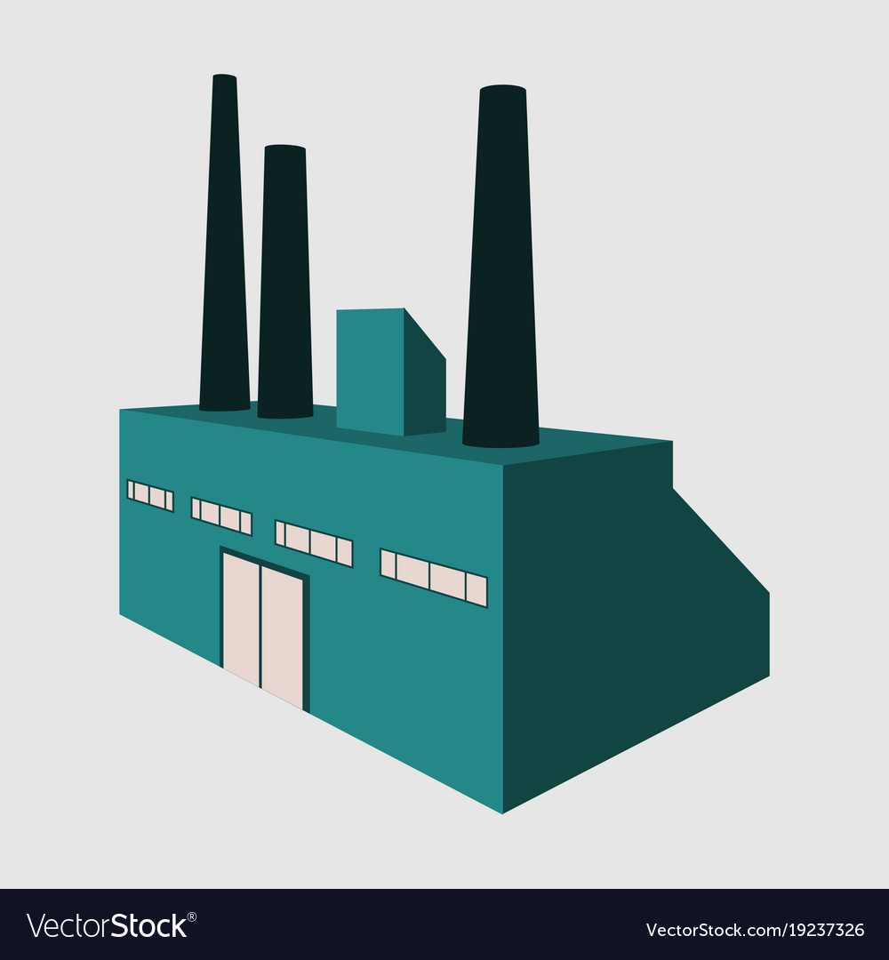 Factory building icon set in the flat style