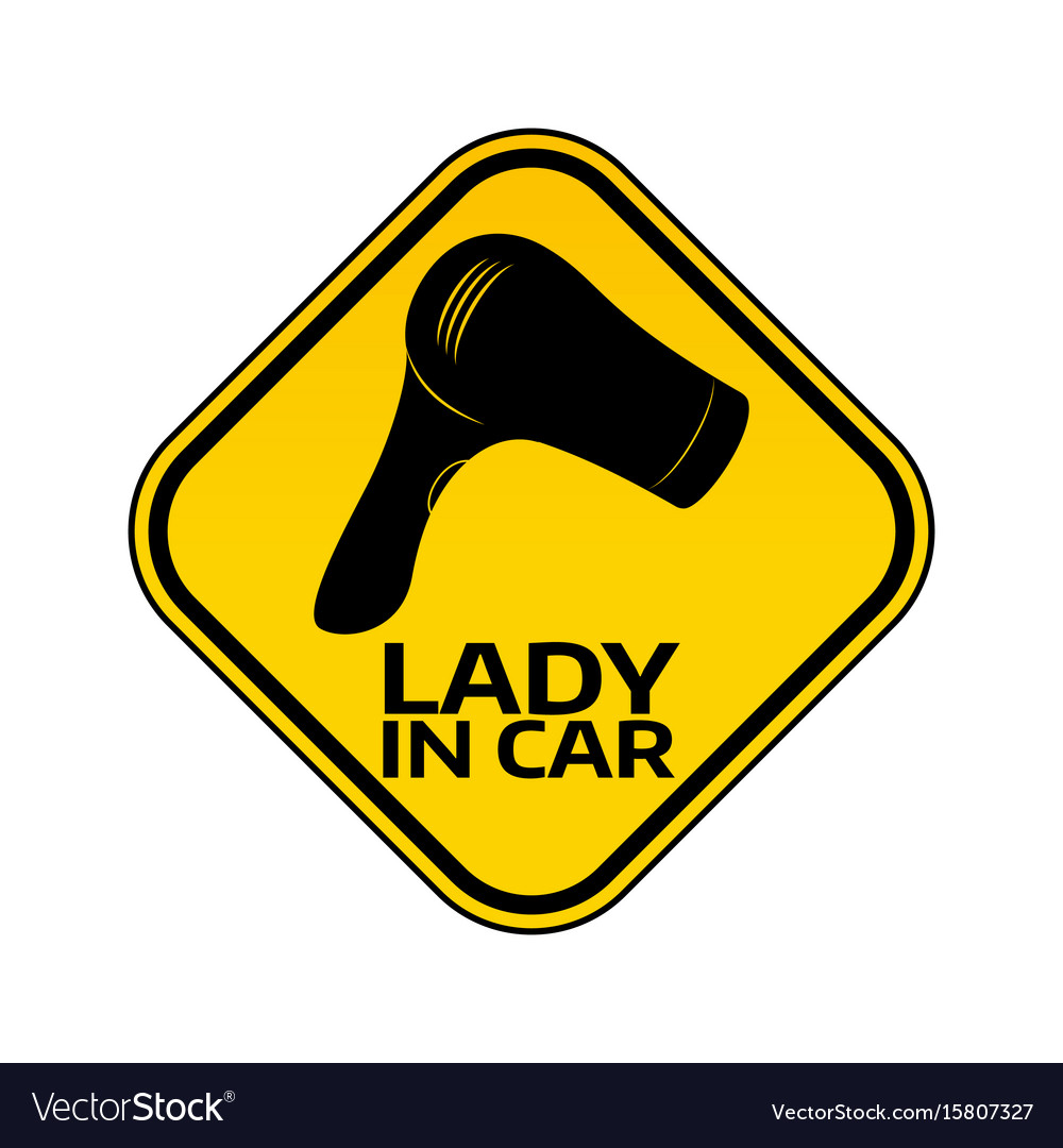 Woman car driver sticker female in automobile vector image