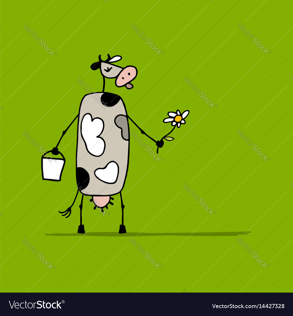 Cute cow with milk and flower sketch vector image