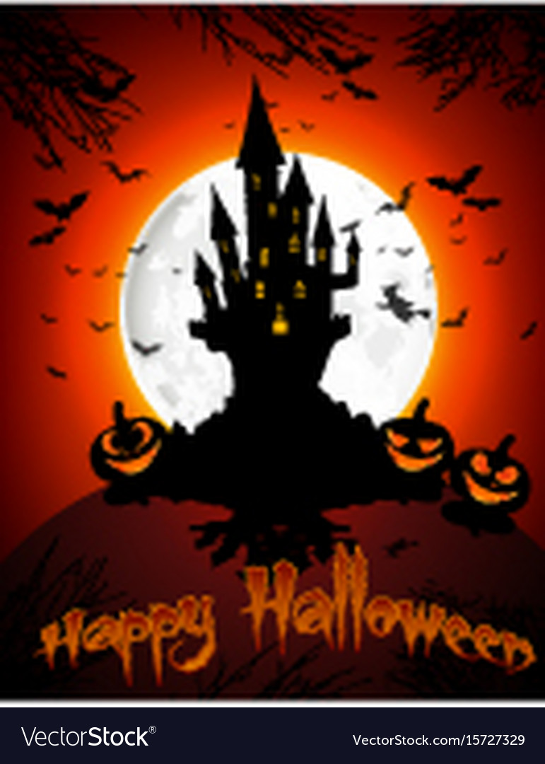 Halloween grave on full moon background vector image