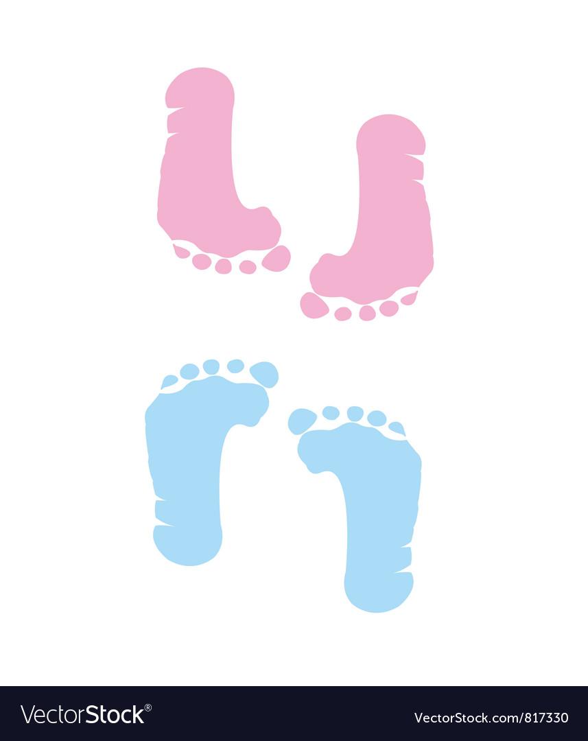 Footprint of girl and boy vector image
