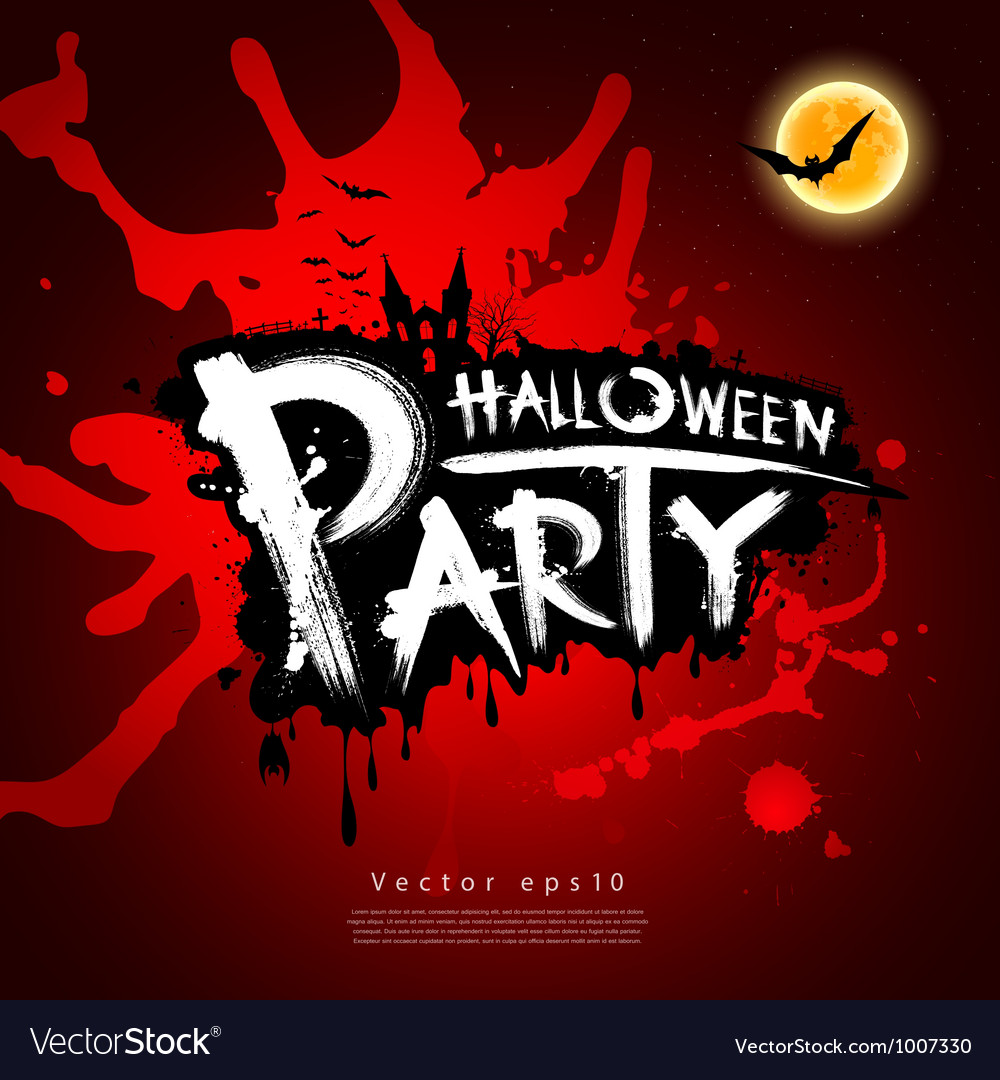 Halloween party blood red background vector image