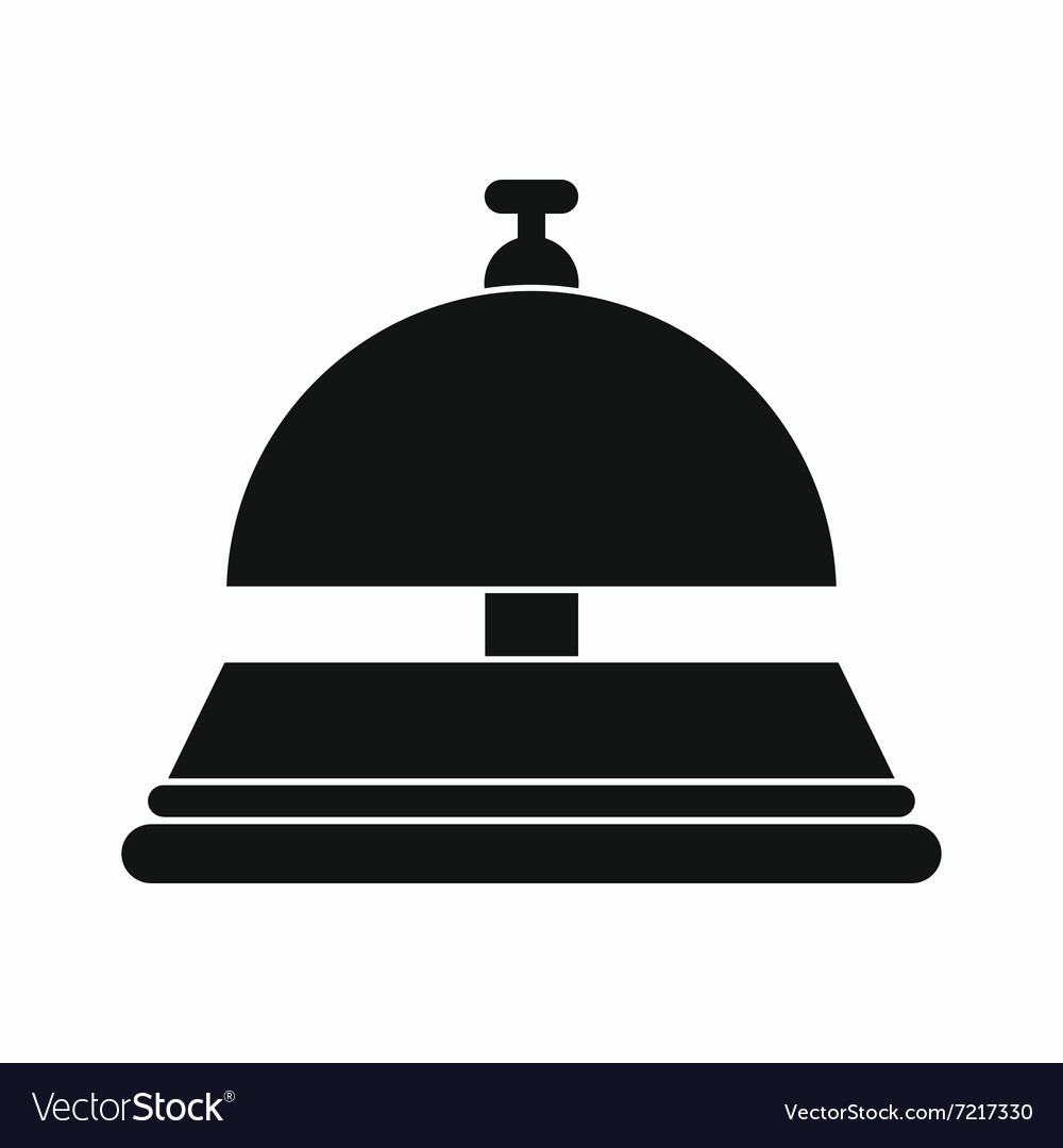 Reception bell black simple icon vector image