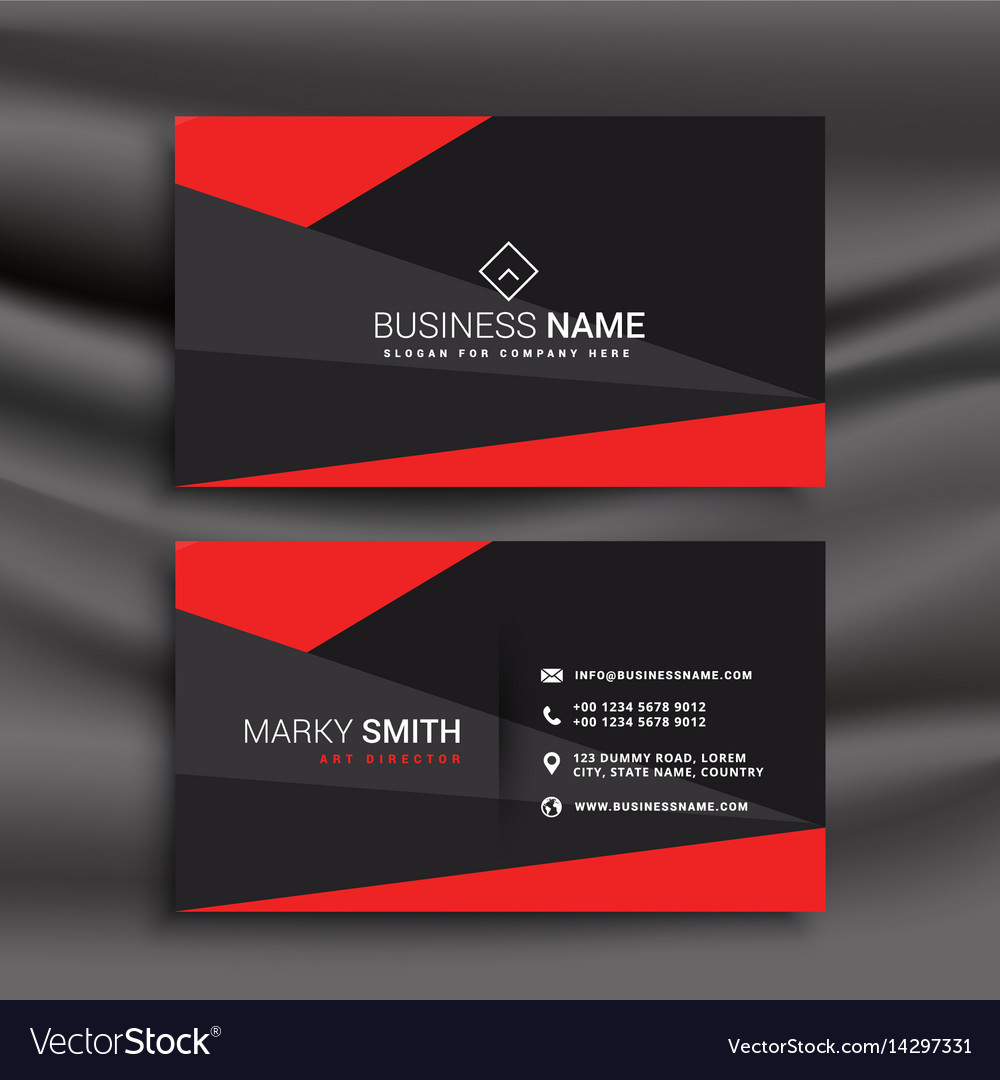 Black And Red Business Card Template With Vector Image