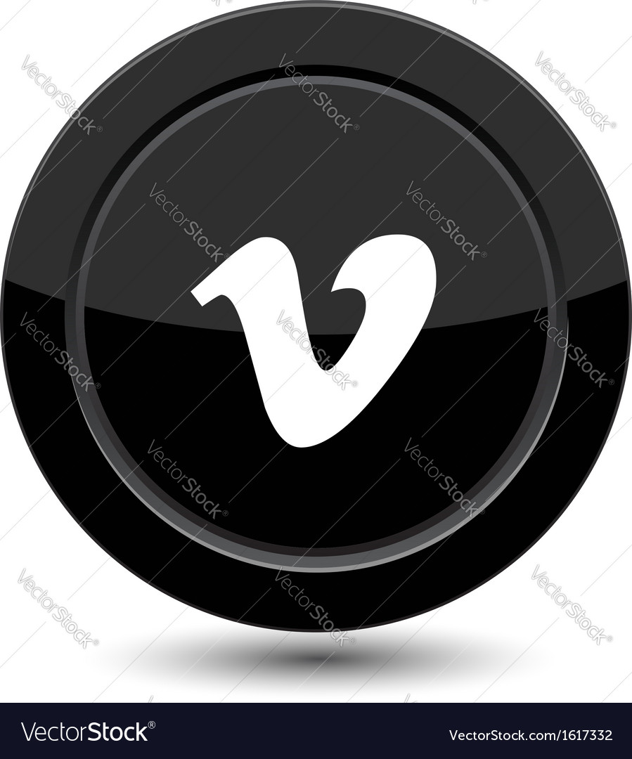 Button with v letter vector image