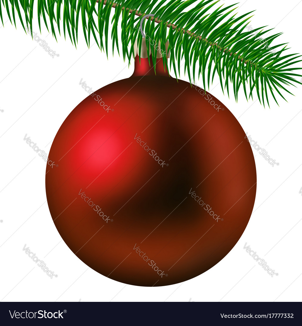 Realistic red matte christmas ball or bauble with vector image
