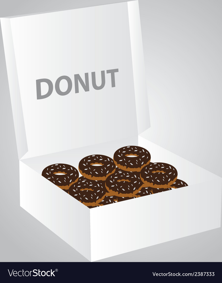 Paper box full of donuts eps10 vector image
