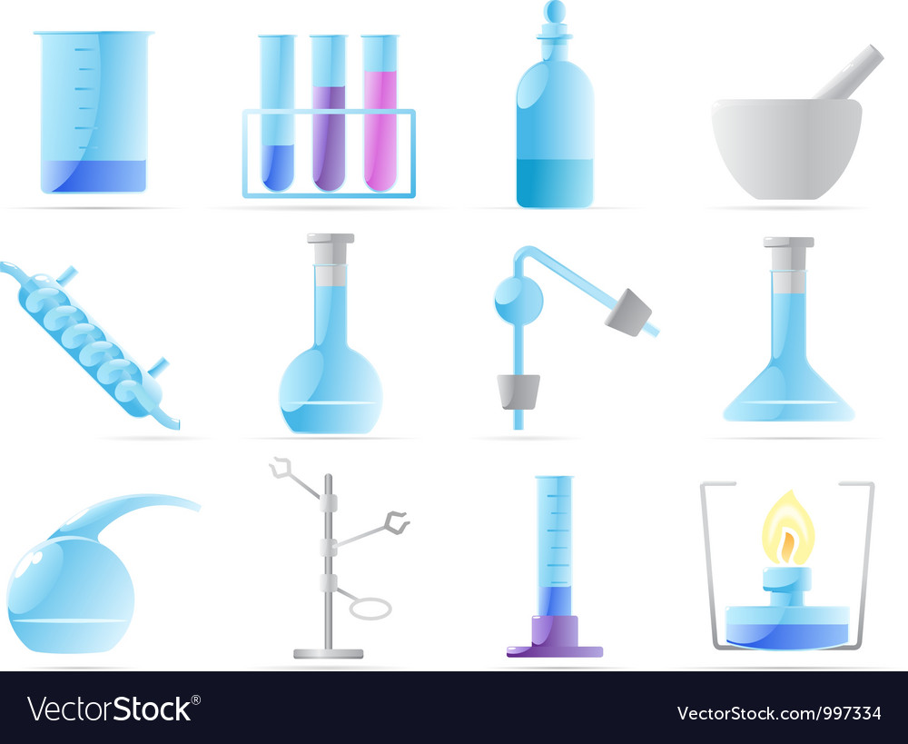 Icons for chemical lab vector image