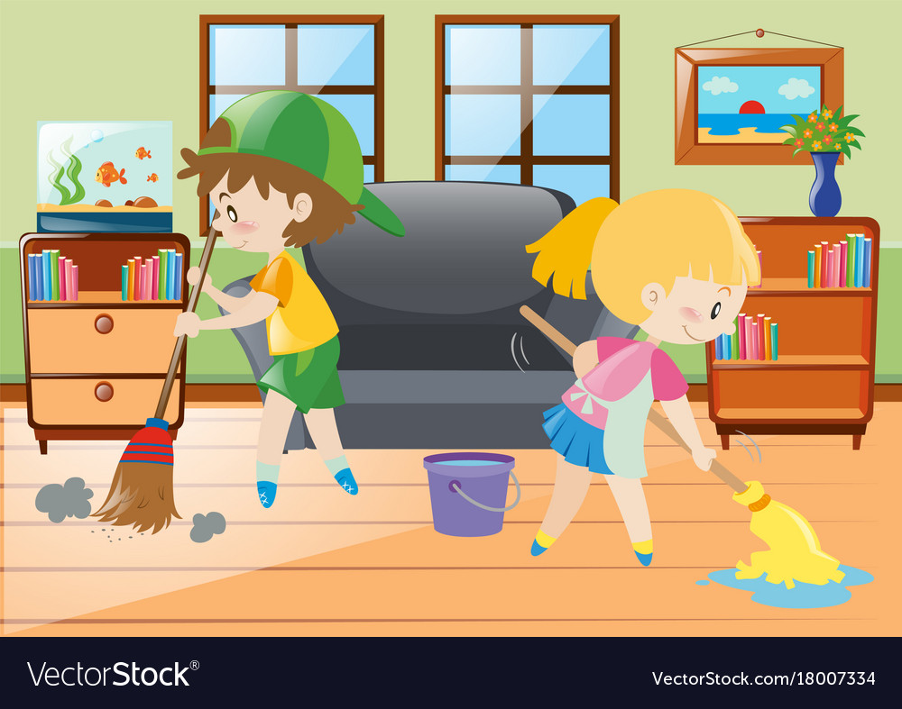 Two kids mopping and sweeping floor Royalty Free Vector